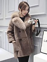 Недорогие -Жен. Искусственное меховое пальто Уличный стиль - Однотонный