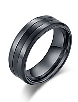 billiga -Herr Klassisk Bandring Ring - Rostfri Stilig, Grundläggande, Trendig 7 / 8 / 9 / 10 / 11 Svart / Silver Till Födelsedag Gåva