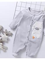 Недорогие -малыш Девочки Классический Однотонный Классический Длинный рукав Хлопок / Полиэстер 1 предмет Синий