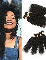 Недорогие -4 Связки Бразильские волосы Перуанские волосы Kinky Curly 8A Натуральные волосы Необработанные натуральные волосы Подарки Человека ткет Волосы Сувениры для чаепития 8-28 дюймовый Естественный цвет