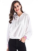 Недорогие -женская хлопковая свободная футболка - сплошной цвет с капюшоном