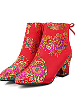 abordables -Femme Matière synthétique Printemps & Automne Doux / Chinoiserie Chaussures de mariage Talon Bottier Bout fermé Bottes Mi-mollet Rouge / Mariage