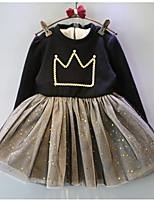 Недорогие -Дети (1-4 лет) Девочки Винтаж Черное и белое Однотонный Длинный рукав До колена Платье Черный