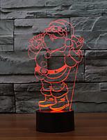 Недорогие -1 комплект Дед Мороз 3D ночной свет USB Творчество / Сенсорный датчик / С портом USB <5 V