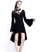 abordables -Steampunk Costume Femme Robes Noir Vintage Cosplay Coton Manches Longues Manches Evasées