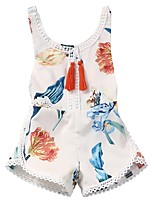 Недорогие -малыш Девочки Цветочный принт Без рукавов Bodysuit