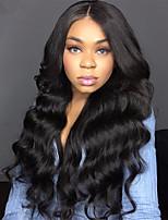 Недорогие -человеческие волосы Remy Полностью ленточные Лента спереди Парик Бразильские волосы Естественные кудри Черный Парик Ассиметричная стрижка 130% 150% 180% Плотность волос / с детскими волосами