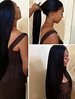 Недорогие -Не подвергавшиеся окрашиванию Remy Лента спереди Парик Перуанские волосы Прямой Парик С конским хвостом 150% Плотность волос с детскими волосами Шелковистость Для темнокожих женщин Нейтральный Жен.