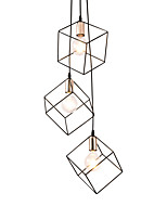 baratos -Gaiola de metal preto do vintage loft mini pingente luzes moderna sala de estar sala de jantar corredor luminária