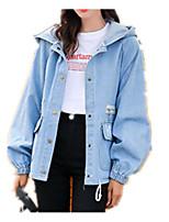 Недорогие -Жен. Повседневные Обычная Джинсовая куртка, Однотонный Капюшон Длинный рукав Акрил / Полиэстер Синий M / L / XL / Свободный силуэт