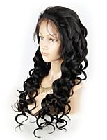 Недорогие -Не подвергавшиеся окрашиванию человеческие волосы Remy Лента спереди Парик Бразильские волосы Свободные волны Естественный прямой Парик Стрижка каскад Средняя часть Боковая часть 130% Плотность волос
