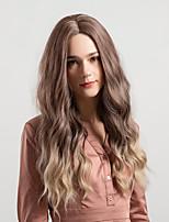 abordables -Perruque Synthétique Femme Ondulation profonde A Ombre Partie médiane 130% Densité de Cheveux Cheveux Synthétiques 26 pouce Lisse / Nouvelle arrivee / Cheveux Colorés A Ombre Perruque Mid Length Sans