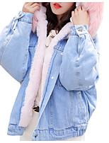 Недорогие -Жен. Повседневные Однотонный Короткая На подкладке, Полиэстер Длинный рукав Капюшон Белый / Розовый / Серый M / L / XL