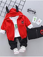 billiga -Bebis Flickor Grundläggande Dagligen Geometrisk Långärmad Normal Normal Polyester Klädesset Svart 100 / Småbarn