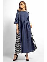 baratos -Mulheres Básico Solto Calças Patchwork Azul / Longo