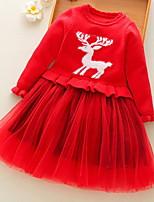 Недорогие -Дети Девочки Классический Однотонный / Геометрический принт Длинный рукав Платье Красный 100