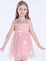 Недорогие -Дети Девочки Классический Однотонный Без рукавов Платье Черный 110