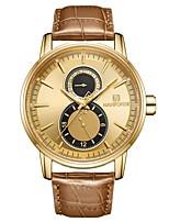 Недорогие -NAVIFORCE Муж. Наручные часы Японский Японский кварц 30 m Защита от влаги Календарь Повседневные часы Натуральная кожа Группа Аналого-цифровые На каждый день Мода Золотистый / Небесно-голубой -