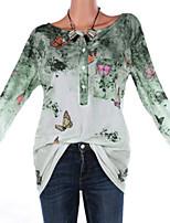 Недорогие -женская футболка размера размера - геометрическая круглая шея
