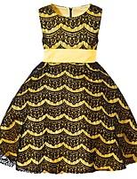 Недорогие -Дети Девочки Классический Однотонный Без рукавов Платье Желтый 110