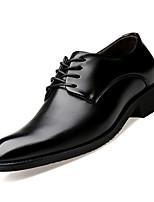 Недорогие -Муж. Комфортная обувь Кожа Осень Деловые Туфли на шнуровке Доказательство износа Черный