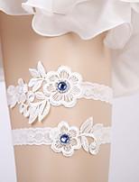 baratos -Renda / Fibra de Leite Casamento Wedding Garter Com Botão Malha Adorno / Cristal / Strass Ligas Casamento