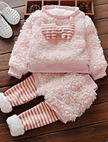 Недорогие -Дети (1-4 лет) Девочки Активный Полоски Длинный рукав Хлопок Набор одежды Розовый 80