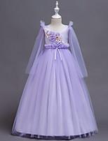 Недорогие -Дети Девочки Милая Однотонный Длинный рукав Платье Розовый 150