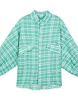 Недорогие -женская рубашка - плед / цветная рубашка с воротником