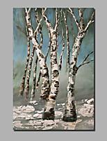 baratos -Pintura a Óleo Pintados à mão - Abstrato / Paisagem Contemprâneo / Modern Incluir moldura interna / Lona Laminada / Lona esticada