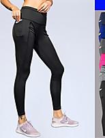 abordables -Femme Poche / Plié Sur la Taille Collants de Course - Bleu, gris foncé, Gris Clair Des sports Couleur unie Collants / Leggings Course / Running, Fitness, Faire des exercices Tenues de Sport / Hiver