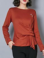 Недорогие -женская футболка - сплошной цветной шею