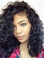 Недорогие -человеческие волосы Remy Полностью ленточные Лента спереди Парик Бразильские волосы Свободные волны Loose Curl Черный Парик Ассиметричная стрижка 130% 150% 180% Плотность волос / Природные волосы