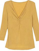 Недорогие -женская хлопковая свободная футболка - сплошной цветной шея