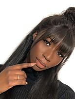 billiga -Remy-hår Hel-spets Spetsfront Peruk Brasilianskt hår Rak Naturlig Straight Svart Peruk Asymmetrisk frisyr 130% 150% 180% Hårtäthet Mjuk Dam Enkel på- och avklädning Bästa kvalitet Naturlig hårlinje