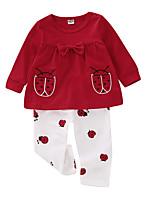 billiga -Bebis Flickor Aktiv Dagligen Tryck Långärmad Normal Polyester Klädesset Rubinrött 100 / Småbarn