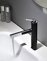 Недорогие -Смеситель для раковины для ванной комнаты - вращающийся / окрашенный с новым дизайном / черная монтируемая на палубе одинарная ручка