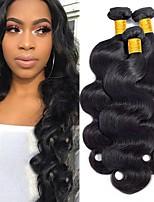 Недорогие -3 Связки Бразильские волосы Индийские волосы Естественные кудри 8A Натуральные волосы Необработанные натуральные волосы Подарки Косплей Костюмы Головные уборы 8-28 дюймовый Естественный цвет