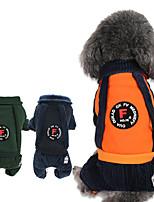 baratos -Cachorros / Gatos Macacão Roupas para Cães Riscas Laranja / Azul Escuro / Verde Escuro Algodão Ocasiões Especiais Para animais de estimação Unisexo Formais