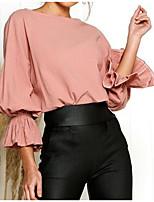 baratos -blusa de algodão para mulher - decote redondo em cor sólida