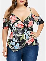 Недорогие -женская футболка размера размера - геометрическая глубокая v