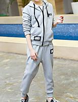 Недорогие -Дети Девочки Классический Повседневные Однотонный Длинный рукав Обычный Обычная Хлопок / Полиэстер Набор одежды Красный 140