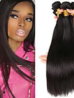 Недорогие -3 Связки Бразильские волосы Прямой Натуральные волосы Головные уборы Человека ткет Волосы Аксессуары для костюмов 8-28 дюймовый Нейтральный Естественный цвет Ткет человеческих волос Машинное плетение