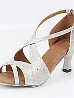 Недорогие -Жен. Обувь для латины Лакированная кожа На каблуках Планка Кубинский каблук Персонализируемая Танцевальная обувь Серебряный