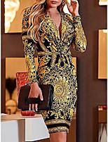 Недорогие -Жен. Элегантный стиль Тонкие Брюки - Цветочный принт Желтый / Для вечеринок / Глубокий V-образный вырез / Сексуальные платья