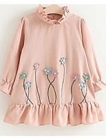 Недорогие -Дети (1-4 лет) Девочки Милая Геометрический принт Длинный рукав Полиэстер Платье Розовый 100