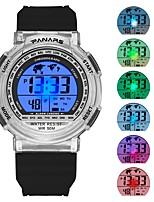 baratos -Homens Relógio Esportivo Japanês Digital 30 m Impermeável Calendário Cronômetro Silicone Banda Digital Fashion Preta / Azul Piscina - Preto Azul