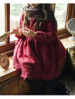 Недорогие -Дети Девочки Классический Однотонный Длинный рукав Хлопок Платье Красный 110