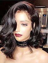 Недорогие -Натуральные волосы Лента спереди Парик Бразильские волосы Волнистый Черный Парик Стрижка боб Короткий Боб 130% Плотность волос с детскими волосами Природные волосы Для темнокожих женщин 100