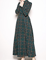 billiga -damskjorta klänning maxi skjorta halsband